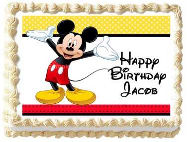 "Edible MICKEY MOUSE image cake Topper 1/4 sheet (10.5"" x 8"")"