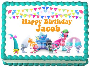 "TROLLS MOVIE Image Edible cake Topper 1/4 sheet (10.5"" x 8"")"
