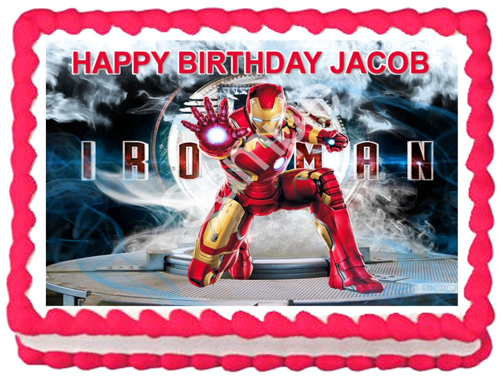 "IRON MAN Image Edible cake Topper 1/4 sheet (10.5"" x 8"")"