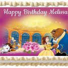 "BEAUTY AND THE BEAST Belle Edible cake topper image 1/4 sheet (10.5"" x 8"")"