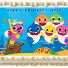 """BABY SHARKS Edible cake Topper Party image 1/4 sheet (10.5"""" x 8"""")"""
