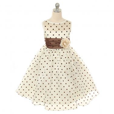Kids Dream Girls10 Ivory Brown Organza Dot Flower Girl Easter Dress Special
