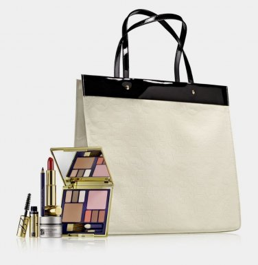 Estee Lauder 6 pcs Luxury Gift Set including Black and Ivory Tote Bag
