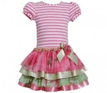Bonnie Jean Girls Pink Stripe Knit Multi Tiered Spring Summer Dress Size3T New