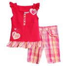 Kid Zone Little Girls 2 Piece Pink Sleeveless Top Plaid Bermuda Shorts Set size6