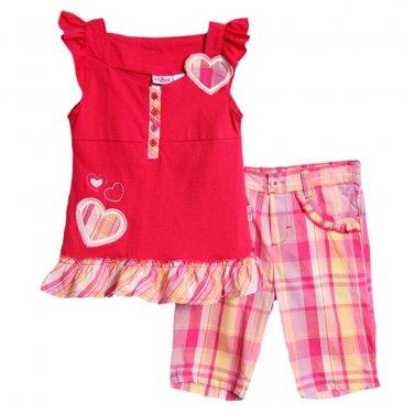 Kid Zone Little Girls 2 Piece Pink Sleeveless Top Plaid Bermuda Shorts Set size6