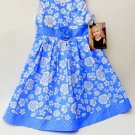 Young Hearts Girls Blue Floral Print Polka Dot Sundress, Church, Summer Size 6