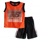 New Balance Boys 2 Piece Athletic OrangeSleevless Shirt Mesh Basketball Shorts7