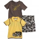 BT Kids Toddler Boys 3 Piece Jeep Shirt Helicopter T-shirt Camouflage Shorts Set