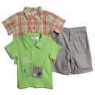 BT Kids Newborn Baby Boys 3 Piece Green T-shirt Plaid Button Up Chino Shorts Set