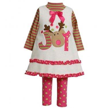 BonnieBaby Girls ReindeerJOYChristmas HolidayFleeceDressw/Legging 3-6months