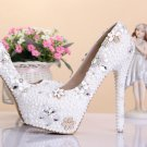 Party Shoes, Prom Shoes, Bridal Shoes--Round Toe Pearls with Crystal Flower Pattern Bridal Pumps