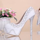 Free Shipping Party Shoes,Prom Shoes,Wedding Shoes--Round Toe Shiny Pearls with Crystal Bridal Heels