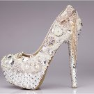 Women Shoes, Prom Shoes, Bridal Shoes--Mixed Pearls with Pretty Bowknot Tassel Crystal Pumps