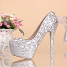 Party Shoes, Prom Shoes, Bridal Shoes, Wedding Shoes--Mixed Crystal Pattern High Heel Platform Pumps