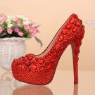 Party Shoes, Prom Shoes, Bridal Shoes--Mixed Red Crystal Rhinestone Pattern High Heel Platform Shoes