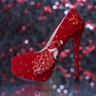 Party Shoes, Prom Shoes,Wedding Shoes--Red Elegant Crystal Rhinestone Peafowl Bridal High Heels