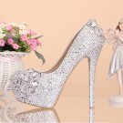 Party Shoes, Platform Shoes, Bridal Shoes--Elegant Mixed Size Crystal Pattern Wedding Shoes