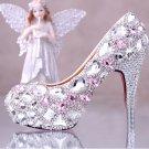 Prom Shoes, Bridal Shoes, Wedding Shoes--Sweet Pink Crystal Rhinestone Pattern Platform Shoes