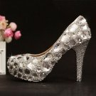 Women Shoes, Bridal Shoes , Prom Shoes--Elegant Big Crystal Rhinestone Pattern Wedding Pumps