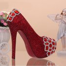 Bridal Shoes, Wedding Shoes, Party Shoes, Prom Shoes--Charming Fire Red Mixed Crystal Bridal Heels