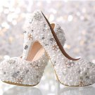Party Shoes, Prom Shoes, Bridal Shoes, Wedding Shoes-Luxury Pearls and Crystal Flower Bridal Pumps