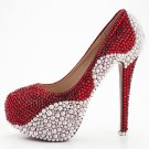 Bridal Shoes, Wedding Heels, Prom Shoes--Pearls with Claret Red Crystal Rhinestone Party Shoes