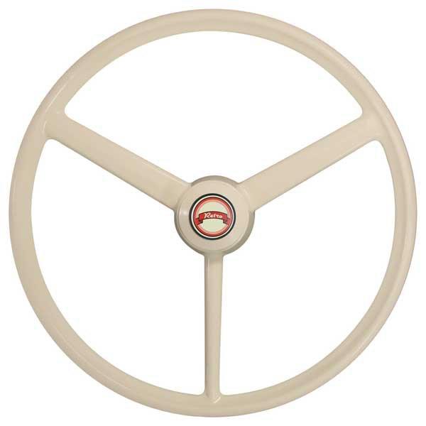 "3 Spoke Ivory Retro Style Steering Wheel 20"""