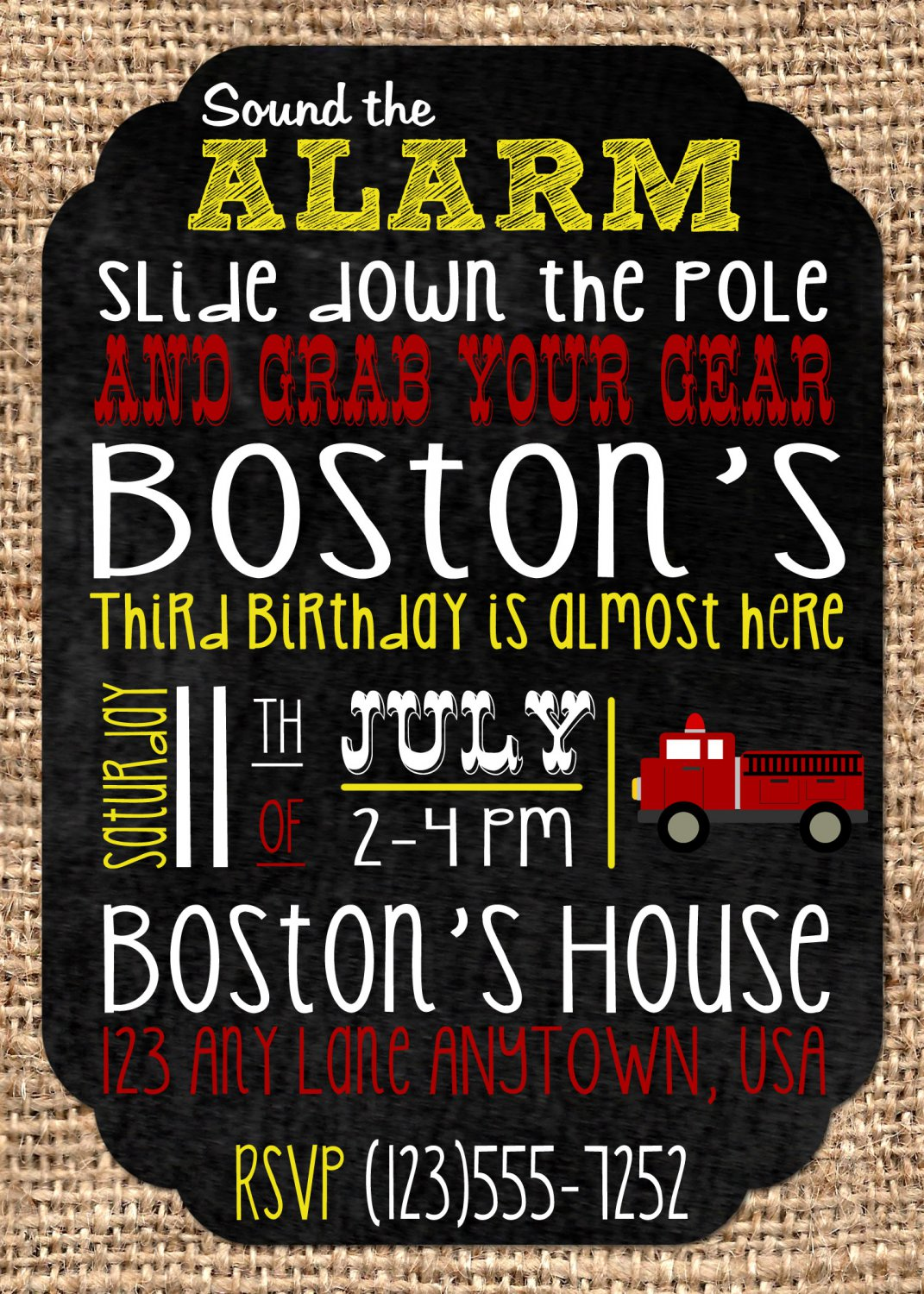 Fire Truck Party Birthday Invites - Printable - Firefighter - DIGITAL FILE - PRINTABLE