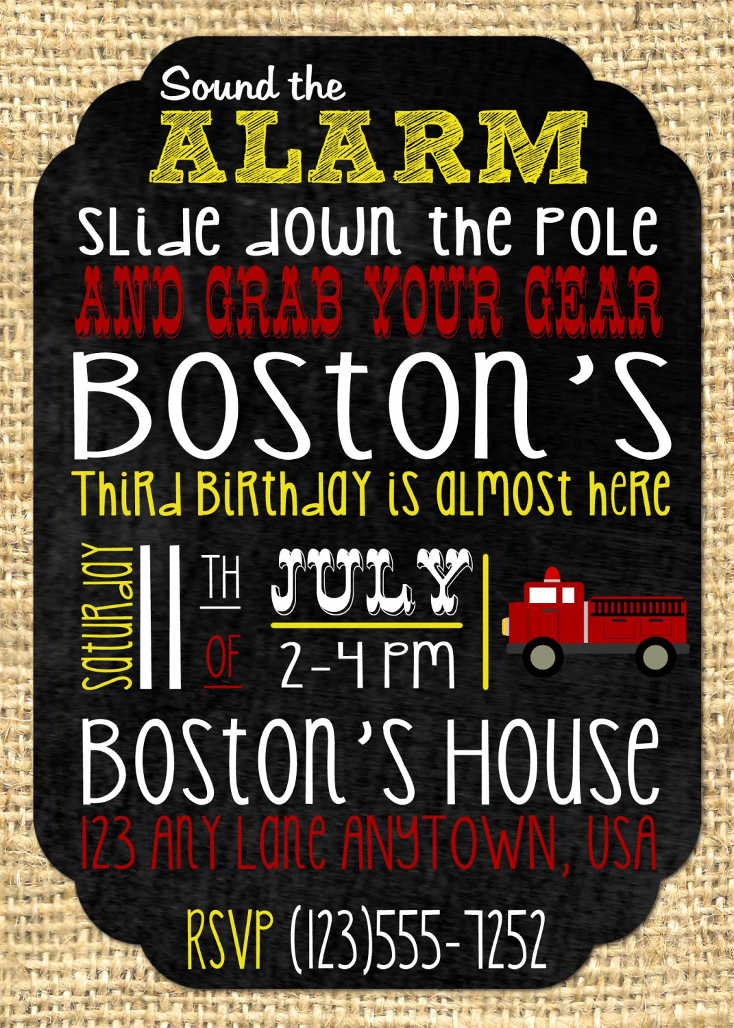 Fire Truck Party Birthday Golden Yellow Invites - Printable - Firefighter - DIGITAL FILE - PRINTABLE