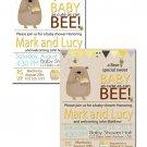 Honey bee and honey bear baby shower invite coed gender neutral printable
