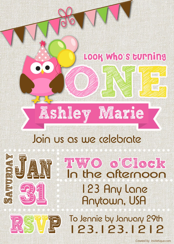 Owl Invitation - birthday invitation any age birthday invite in owl theme-
