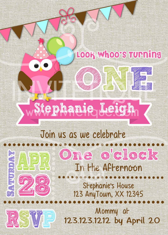 Pink Owl Invitation - birthday invitation any age birthday invite in owl theme-