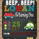 Cute Cars Transportation Birthday invitations | Printable |Birthday Invitations