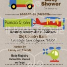 Cars Trucks Planes Green Apple Baby Shower Invitation, Transportation Party, DIY