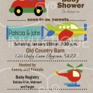 Cars Trucks Planes Teal Baby Shower Invitation, Transportation Party, DIY
