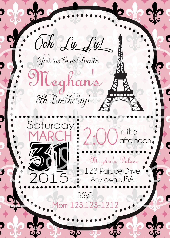 Parisian chic bridal shower invitation, elegant, eiffel tower, Baby Shower, Birthday Invite