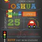 Cars Trucks Planes Birthday Invitation, Transportation Party, DIY