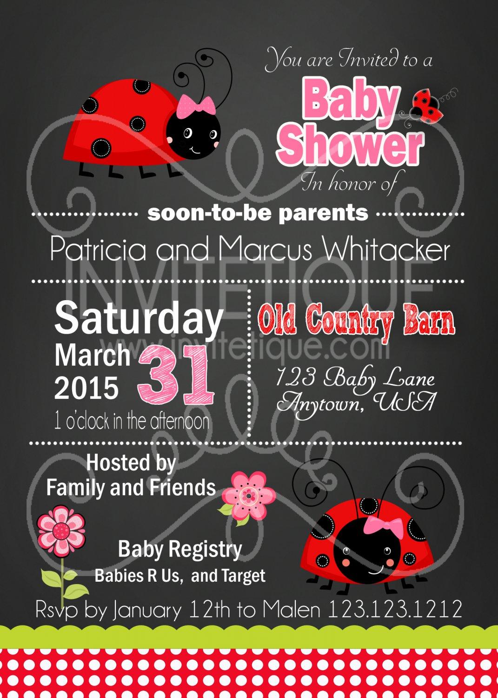 Ladybug Baby Shower Invitation | 1st Birthday Party Invitation | Birthday Invitations Printable