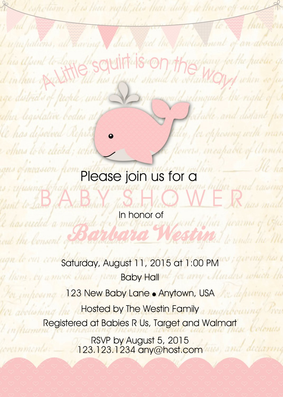 Girl Whale Baby Shower Invitation - Girl Baby Shower - Shower Invites - Under The Sea Party