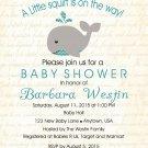 Boy Whale Baby Shower Invitation - Boy Baby Shower - Shower Invites - Under The Sea Party