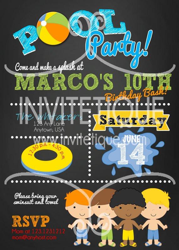 Boy Pool Party Birthday Bash Invitation, End of School Bash, Summer Party Invitation