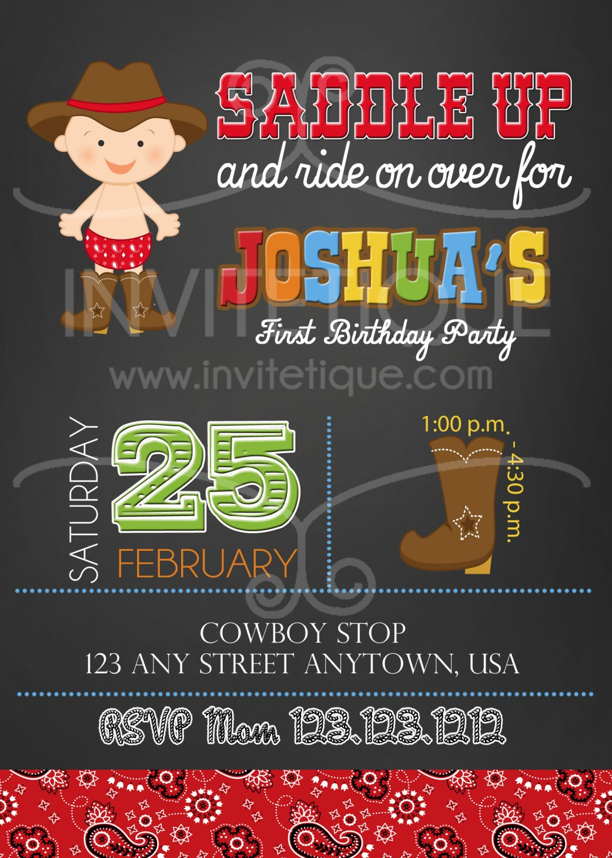 Cowboy invitation   Western Chalk party   First birthday   Boy Birthday party   Baby shower
