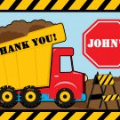 Red Dump Truck Construction Zone Thank you notes