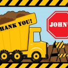 Yellow Dump Truck Construction Zone Thank you notes