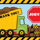 Green Dump Truck Construction Zone Thank you notes