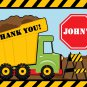 Green Dump Truck Construction Zone Thank you notes