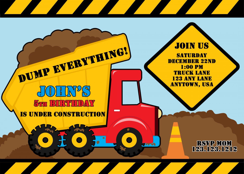 Red Dump Truck Construction Zone Birthday Invitations