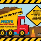 Red Dump Truck Construction Zone Birthday Invitations