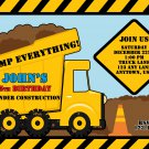 Yellow Dump Truck Construction Zone Birthday Invitations